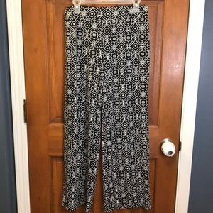 NY Collection Black and White Petite Casual Pants